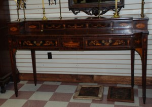 inlaid antique sideboard circa1790, mahogany and fruitwood with brass gallery at charlies antiques in williamsburg va
