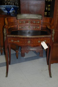 antique inlaid desk with brass gallery circa late 1800 at charlies antiques in williamsburg va