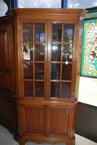16 pane old walnut corner cupboard,walnut corner cabinet at charlies antiques in williamsburg va