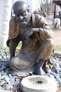 bronze wise man garden statue at charlies antiques in williamsburg va