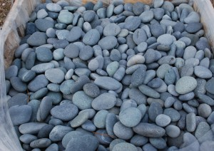 black mexican pebbles for river beds,ponds and garden landscape at charlies antiques in williamsburg va