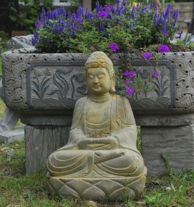stone trough and stone buddha,buddha statue at charlies antiques in williamsburg vas