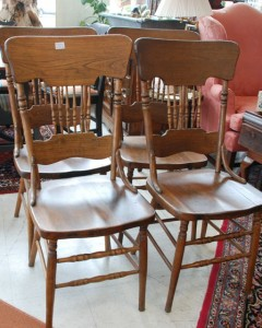 four antique wood kitchen chairs at charlies antiques in williamsburg va