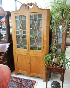 tiger maple corner cupboard at charlies antiques in williamsburg va