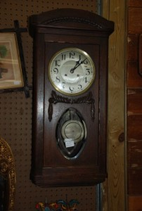 antique hanging wood wall clock at charlies antiques in williamsburg va