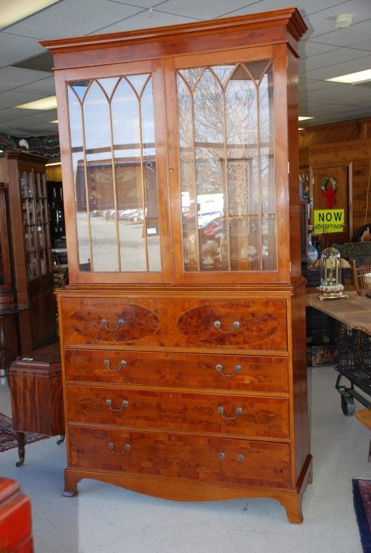 Yew Wood Secretary Bookcase Antique Style At Charlies Antiques In Williamsburg Va