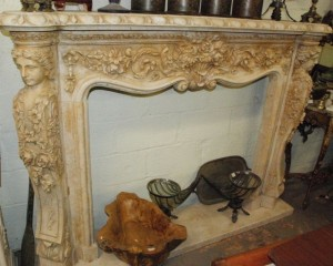 travertine carved mantel, marble mantel at char lies antiques in williamsburg va
