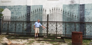 iron sliding driveway gate at charlies antiques in williamsburg va
