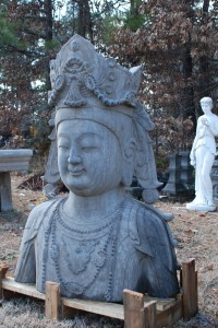 carved stone quan yin at charlies antiques in williamsburg va, stone quan yin statue at charlies antiques in williamsburg va, garden statue of quan yin