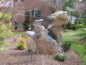 stone boulder at charlies antiques in williamsburg va