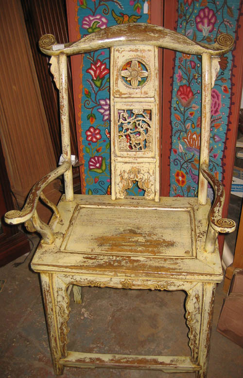 white distressed oriental chair at charlies antiques in williamsburg va
