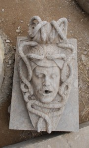 carved stone fountain head for pond at charlies antiques in williamsburg va