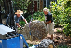 boulders for landscaping at charlies antiques in williamsburg va
