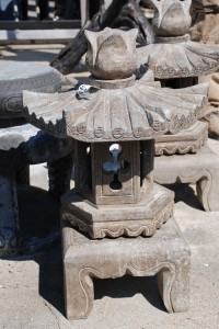 hand carved stone japanese lantern for garden ornament or bonsai garden at charlies antiques in williamsburg va
