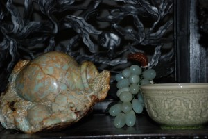 carved stone vase, jade grapes, celedon green bowl at charlies antiques in williamsburg va
