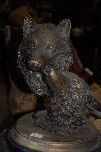bronze wolf statue at charlies antiques in williamsburg va