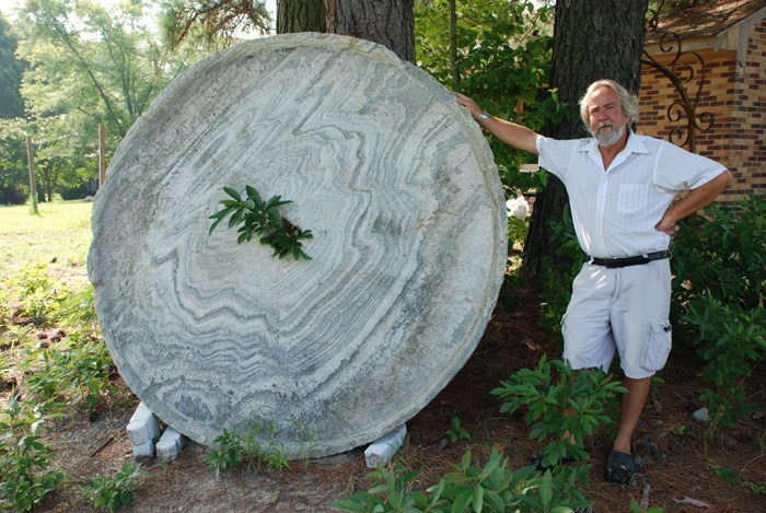 stone millstone for garden accent at charlies antiques in williamsburg va