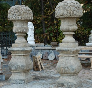 carved stone fruit urns for garden entrances,garden statuary at charlies antiques in williamsburg va