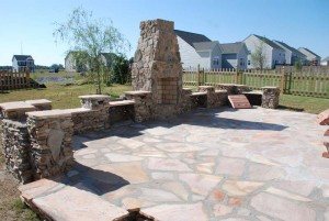 fieldstone walls and flagstone patio,landscape stone sold at charlies antiques in williamsburg va