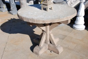 mission style elm base outdoor table with stone top at charlies antiques in williamsburg va