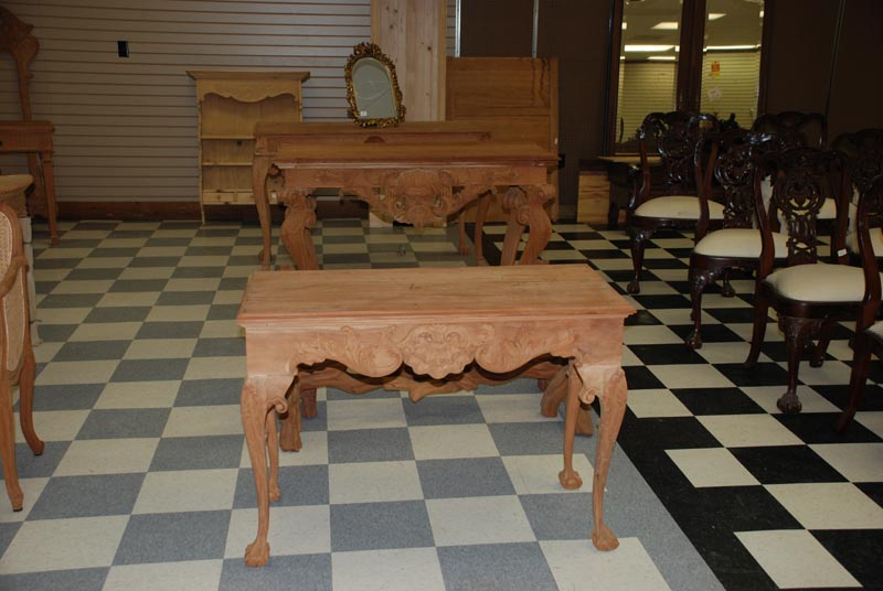 mahogany hand carved console tables, chippendale footed mahogany foyer tables at charlies antiques in williamsburg va