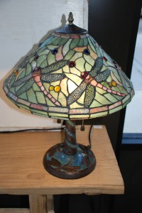 stained glass dragonfly lamp, interior design lamp at charlies antiques in williamsburg va