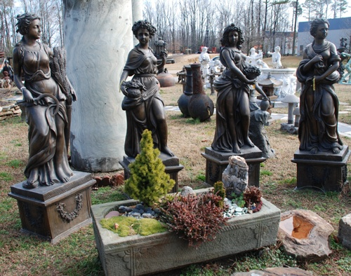 bronze four seasons statues at charlies antiques in williamsburg va