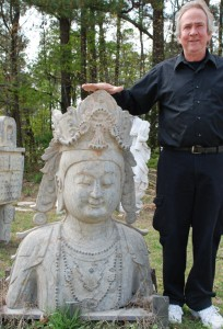 stone quanyin head for garden decor,stone statue of quanyin for landscaping decor at charlies antiques in williamsburg va