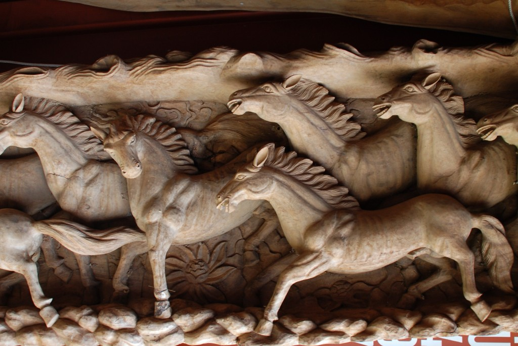 teak log with carved horses, carved horse wall hanging at charlies antiques in williamsburg va