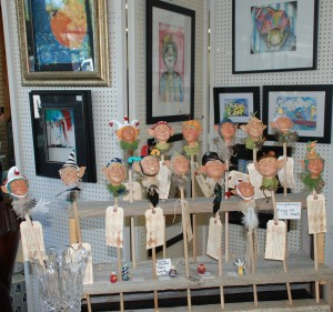 polmer clay hand sculpted faces for plants at charlies antiques in williamsburg va