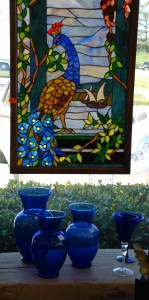 cobalt blue glass,stained glass windows,cobalt blue vases at charlies antiques in williamsburg va