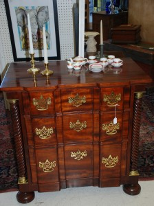 antiqumahogany blockfront chest,miniature china tea set at charlies antiques in williamsburg vae