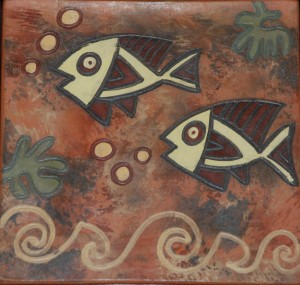 clay handmade tile from peru at charlies antiques in williamsburg va