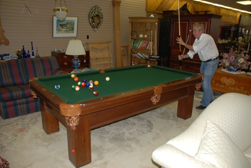 oak pool table at charlies antiques in williamsburg va