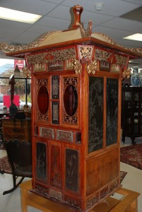 antique oriental carved bridal sedan chair,old sedan chair at charlies antiques in williamsburg va