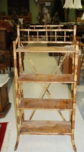 antique bamboo bookcase, bamboo shelf at charlies antiques in williamsburg va