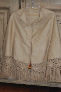 alpaca poncho with crocheted edging at charlies antiques in williamsburg va