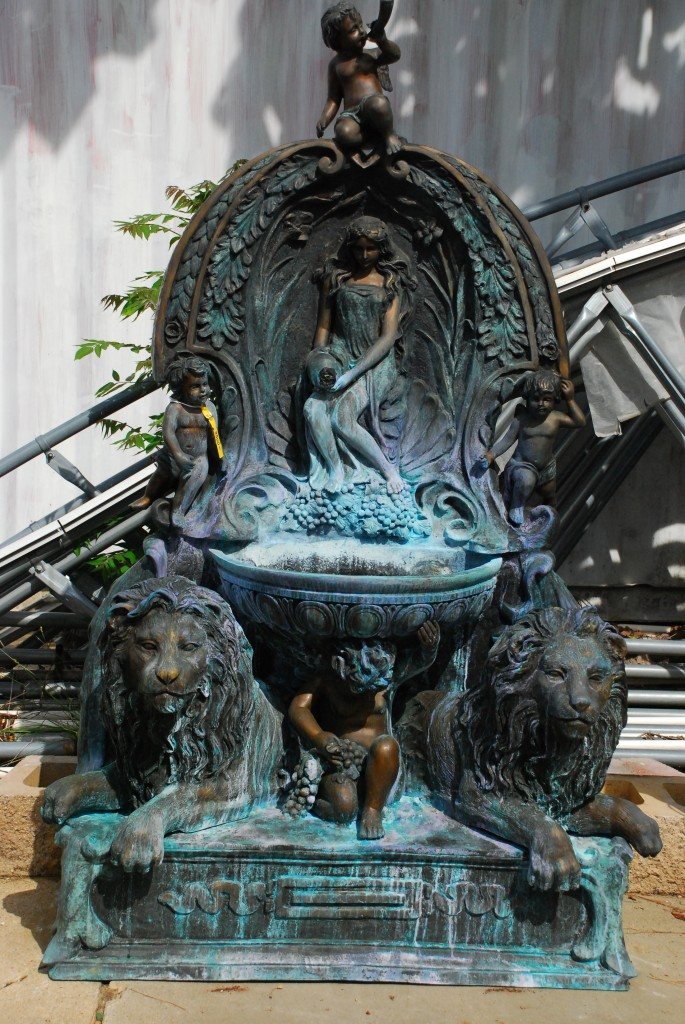 bronze lions fountain,bronze statuary at charlies antiques in williamsburg va