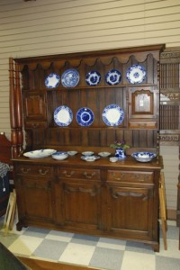 elm hutch in walnut color at charlies antiques in williamsburg va
