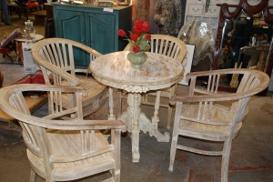 teak whitewashed table and chairs, dinette set at charlies antiques in williamsburg va