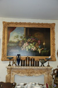 5ft by 7ft oil painting in gold frame at charlies antiques in williamsburg va