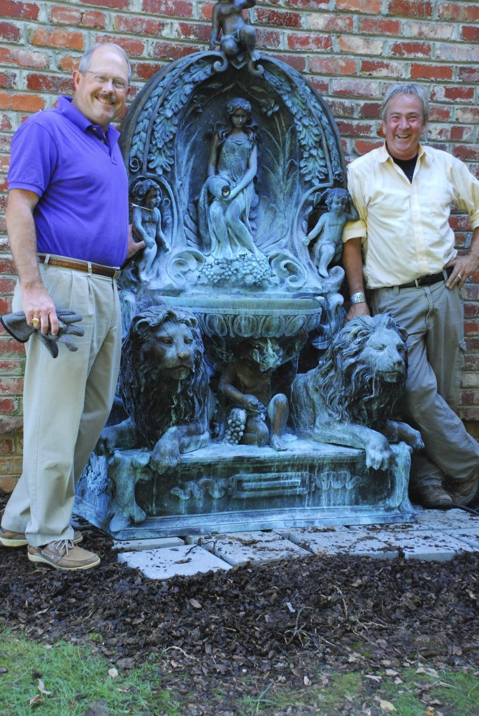 bronze fountain,outdoor statuary at charlies antiques in williamsburg va