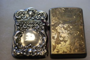 sterling match safe and brass lighter at charlies antiques in williamsburg va