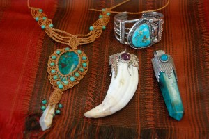 macrame jewelry, american indian turquoise bracelet, turquoise and silver crystal pendant at charlies antiques in williamsburg va