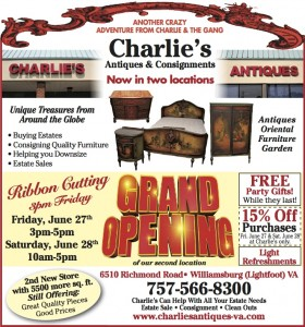 antiques and vintage items at charlies antiques grand opening in williamsburg va