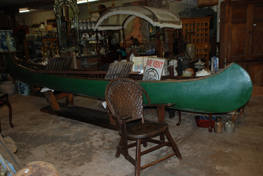 antique wooden old town canoe 17 ft long at charlie antiques in williamsburg va