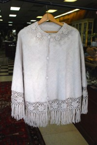 alpaca poncho with crochet edging from Peru at charlies antiques in williamsburg va