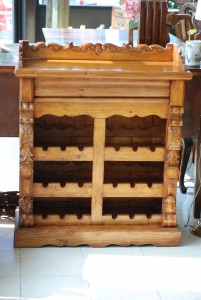 pine wine rack with drawer at charlies Antiques in williamsburg va