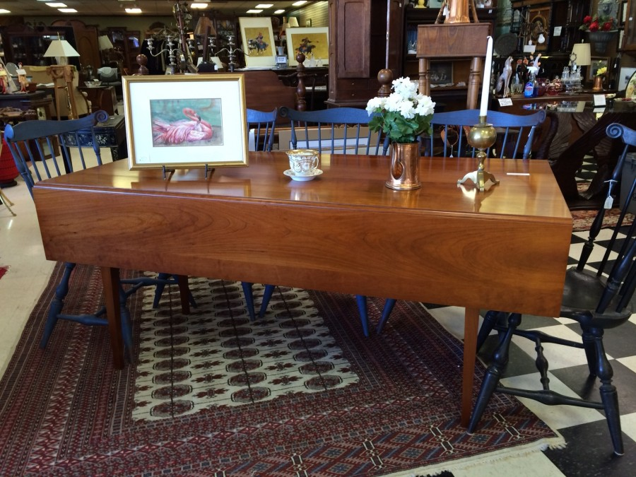 cherry harvest table, tapered cherry drop leaf table at charlies antiques in williamswburg va