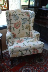 antique chair, vintage wingback chair